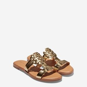 Cole Haan Gold Flat Leather Woven Sandals -Size 10